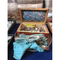 Wood Box with Assorted Coins, Tokens and Jewelry