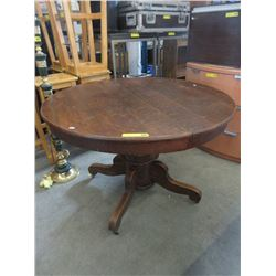 Vintage Canadiana Oak Dining Table on Casters