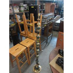 Brass & Stone Floor Lamp