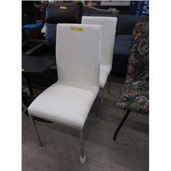 2 Leather Like Dining Chairs with Chrome Legs