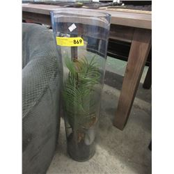 "32"" Tall Thick Glass Floor Vase"