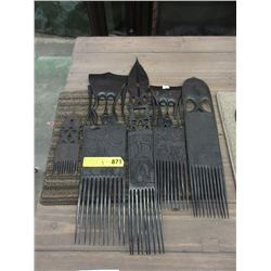 5 Carved Kenyan Ebony Display Combs