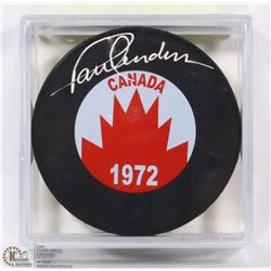 TEAM CANADA 1972 PAUL HENDERSON SIGNED HOCKEY