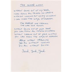 Mal Evans 1968 Handwritten Lyrics for 'The Inner Light'
