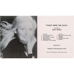 Apple Records Promo Leaflet for Mary Hopkin