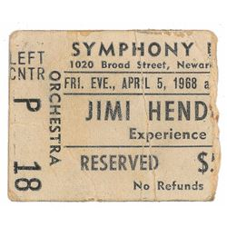 Jimi Hendrix 1968 Newark Symphony Hall Ticket Stub