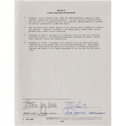Jerry Garcia and Bob Weir Signed Document
