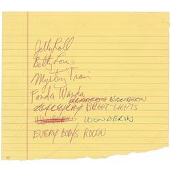 Neil Young Handwritten Set List