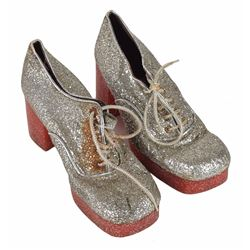 Brad Delp's Pair of Silver Glitter Platform Shoes