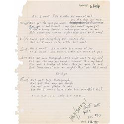 Brad Delp Handwritten Lyrics for 'All I Want'