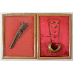 Framed Civil War Relic Pistol & Buttons
