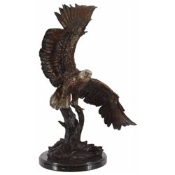 Gliding Eagle Polychromed Bronze