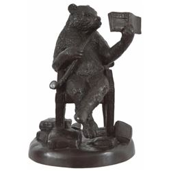 Old Bear Reading with Pipe Bronze