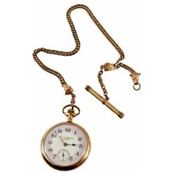 Hampden Watch Co. Gold Watch & Steer Head Fob
