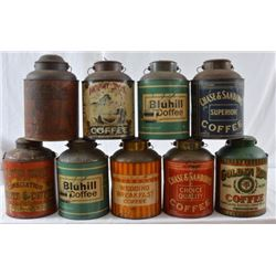 9 Antique Coffee Tins