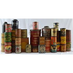 Large Collection Of Antique Coffee Tins