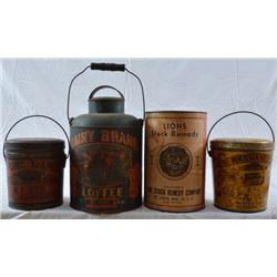 Antique Country Store Lard Pig & Cow Tins