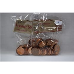 Canada One Cent Coins (100) 2012, 2011, 2010 (High Lustre)