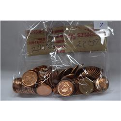 Canada One Cent Coins (100) 2007 (High Lustre)
