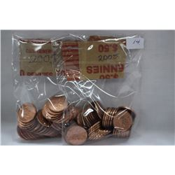 Canada One Cent Coins (100) 2005 (High Lustre)