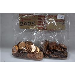Canada One Cent Coins (100) 2003, 2002 (High Lustre)