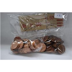 Canada One Cent Coins (100) 2005, 2001 (High Lustre)