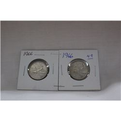 Canada Twenty-five Cent Coins (2) 1966 - Silver