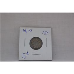Canada Small Five Cent Coin - 1919 - Very Little Wear