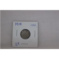 Canada Small Five Cent Coin - 1918 - Very Little Wear