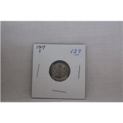 Canada Small Five Cent Coin - 1909 - Very Little Wear