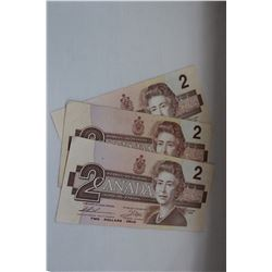 1986 Canada Two Dollar Bills (3)