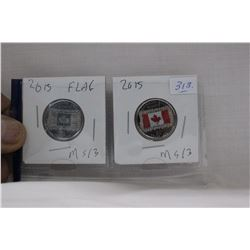 Canada Twenty-Five Cent Coins (2) 2015 - Flag - MS63