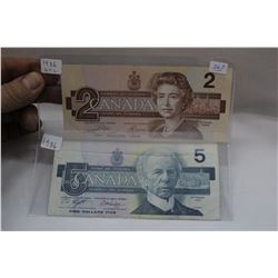 Canada Two Dollar & Five Dollar Bills (2) 1986 - $2.00 Uncirc.