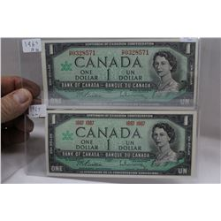 Canada One Dollar Bills (2) 1967 (Both Issues) (AU)