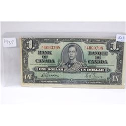 Canada Dollar Bill - 1937 - #H/L 4093798 - Irregular Margins