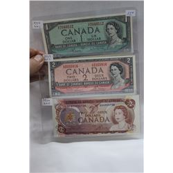 Canada 1954 One and Two Dollar Bills - Modified & 1974 Two Dollar Bill - all 3 bills are Uncirc.