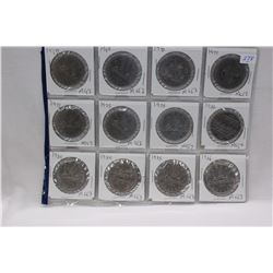 Canada Dollar Coins (12) 1968 to 1986 - MS63