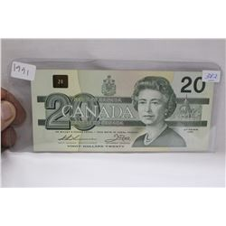 Canada Twenty Dollar Bill - 1991 - with Serifs