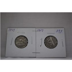 Canada Five Cent Coins (2) 1947