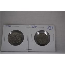 Canada Five Cent Coins (2) 1936