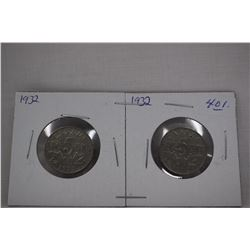 Canada Five Cent Coins (2) 1932