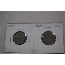 Canada Five Cent Coins (2) 1924