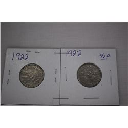 Canada Five Cent Coins (2) 1922