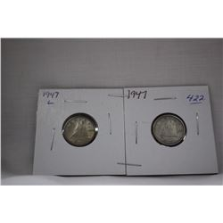 Canada Ten Cent Coins (2) 1947 (1 with ML) - Silver