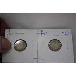 Canada Ten Cent Coins (2) 1905, 1907 - Silver - Very Worn