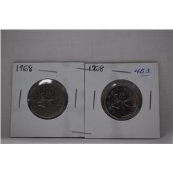 Canada Twenty-Five Cent Coins (2) 1968