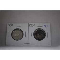 Canada Twenty-Five Cent Coins (2) 1963 - Silver