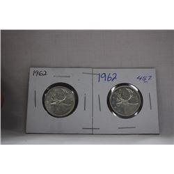 Canada Twenty-Five Cent Coins (2) 1962 - Silver