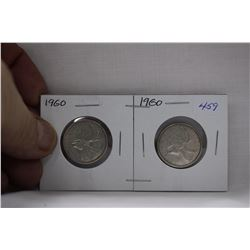 Canada Twenty-five Cent Coins (2) 1960 - Silver