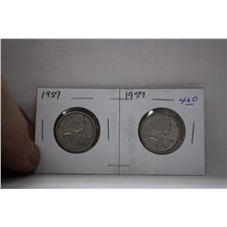 Canada Twenty-five Cent Coins (2) 1959 - Silver